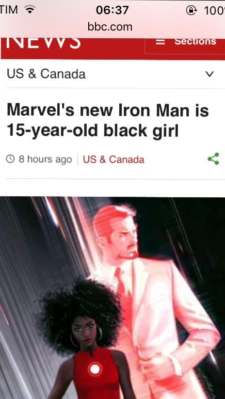 """pra quem não sabe ler em inglês tá escrito: """"Novo homem de ferro vai ser garota negra de 15 anos"""". - meme"""