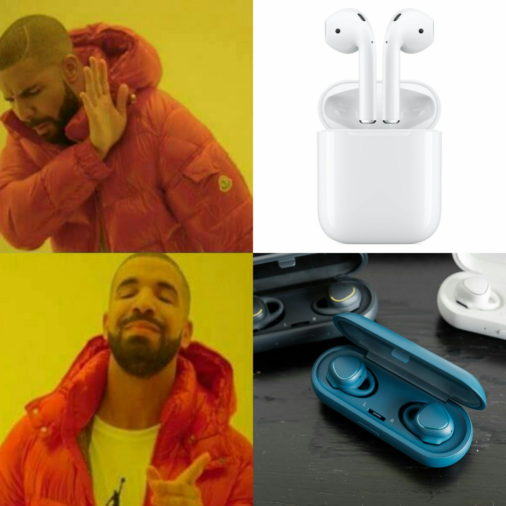 Airpods (apple) vs. Gear Iconx (Samsung) - meme