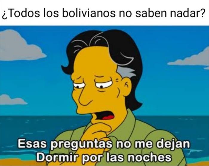 Estoy casi seguro de que no sabe nadar jaja ¿algún boliviano? - meme