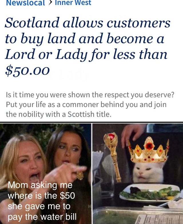 Scotland allows customers to buy land and become a Lord or Lady for less than $50 - meme