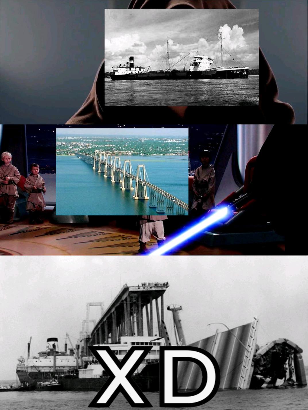 El Chiste: El Super Tanquero Esso maracaibo tumbo el puente por un error del capitán en el año 1964 - meme
