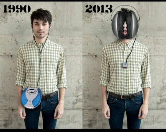 Portable music then and now - meme