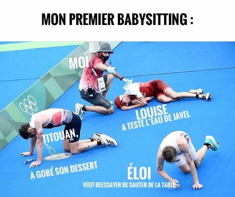 Arrivée du triathlon des JO - meme