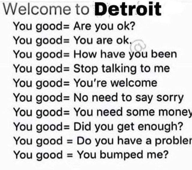 Welcome to Detroit. You good. - meme