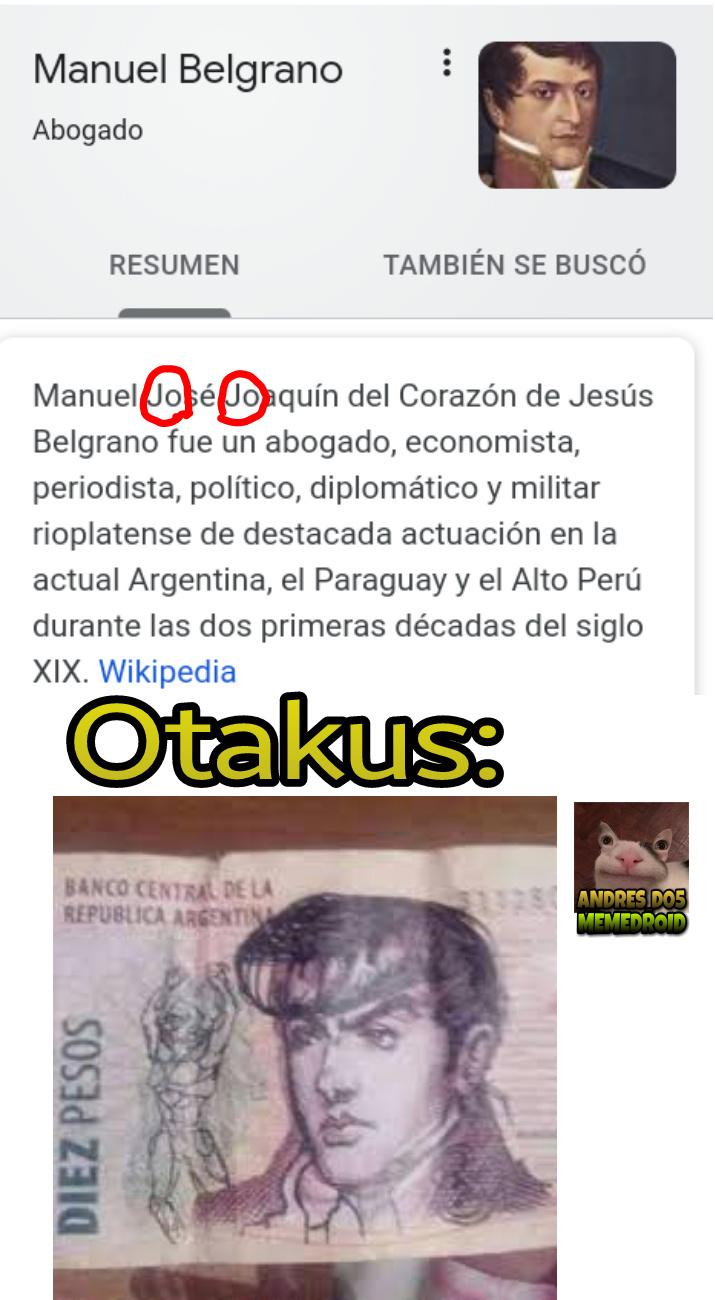 Watafak Belgrano era un jojo - meme