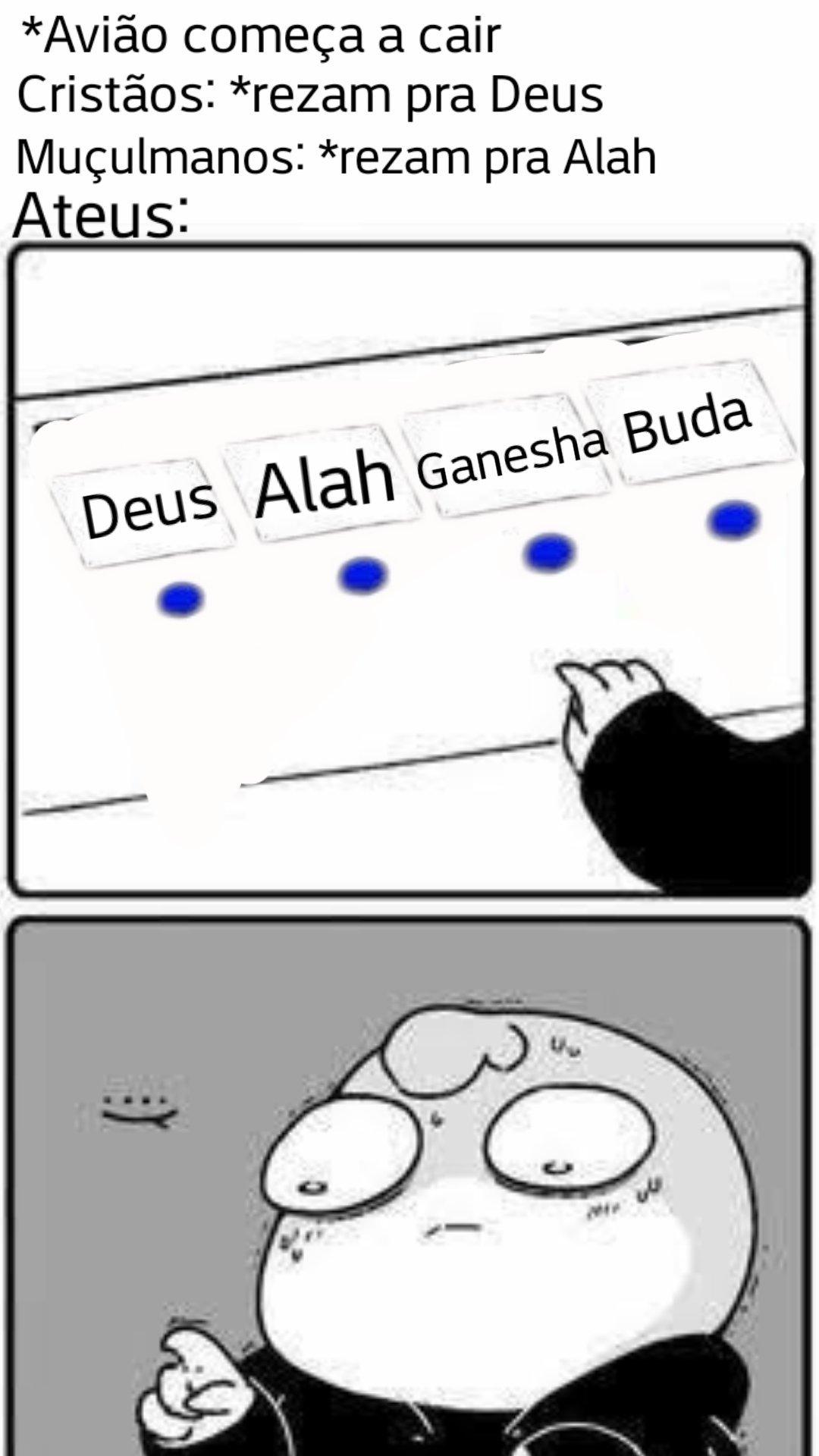 eu sou ateu, mas só até o avião cair - meme