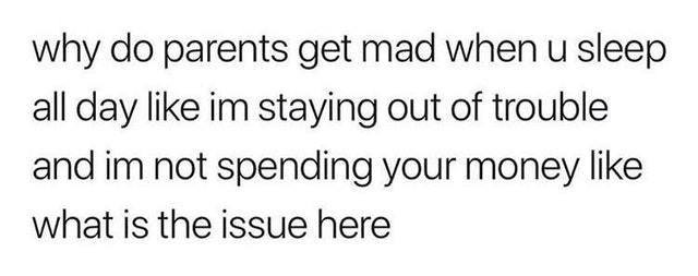 My parents don't want me to sleep all day - meme