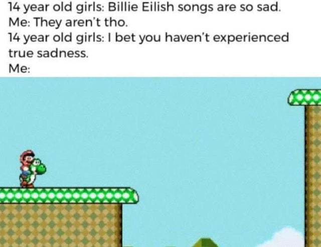 Billy Eilish songs are so sad - meme