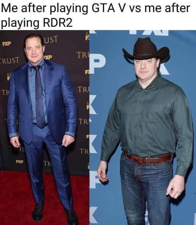 After playing GTA V vs after playing RDR2 - meme