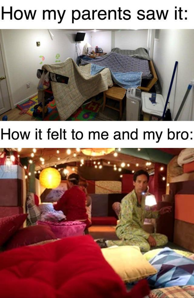 How my parents saw it vs how it felt to me and my brother - meme