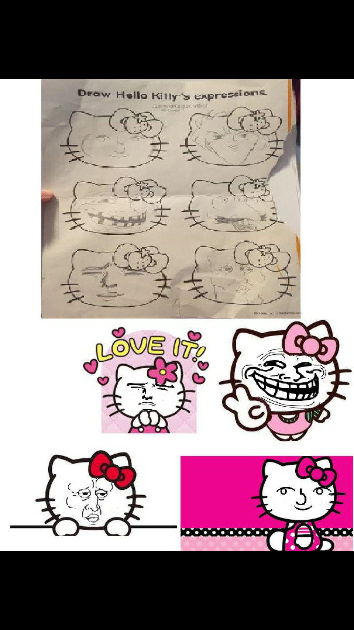 Hello kitty face - meme