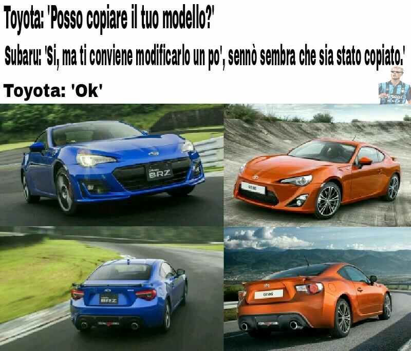 La Subaru BRZ e la Toyota GT86 si assomigliano :/ cito chi è ancora in circolazione - meme