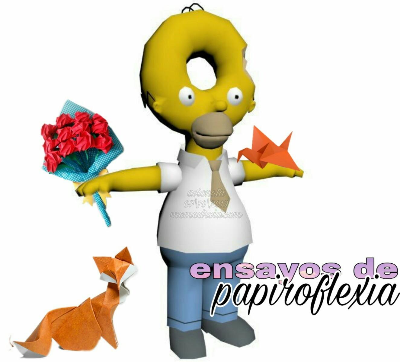 Homer y sus ENSAYOS DE PAPIROFLEXIA - meme