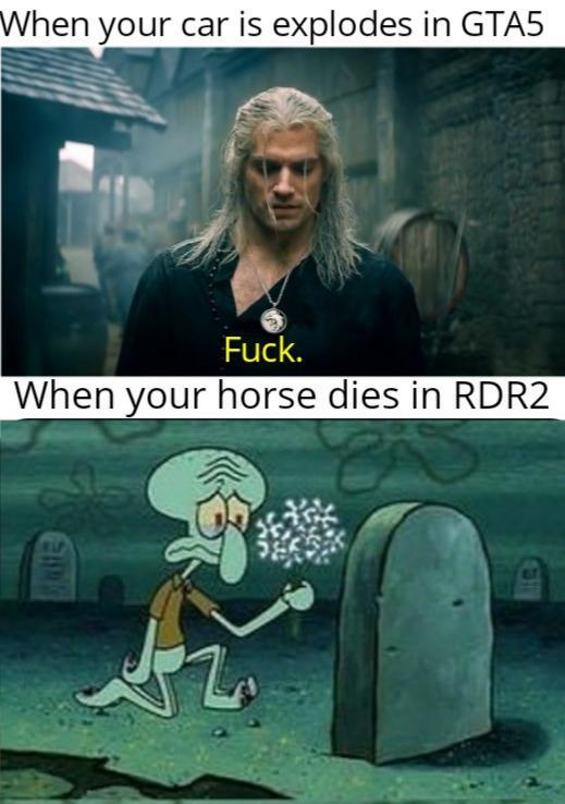 When your car explodes in GTA5 vs when your horse dies in RDR2 - meme