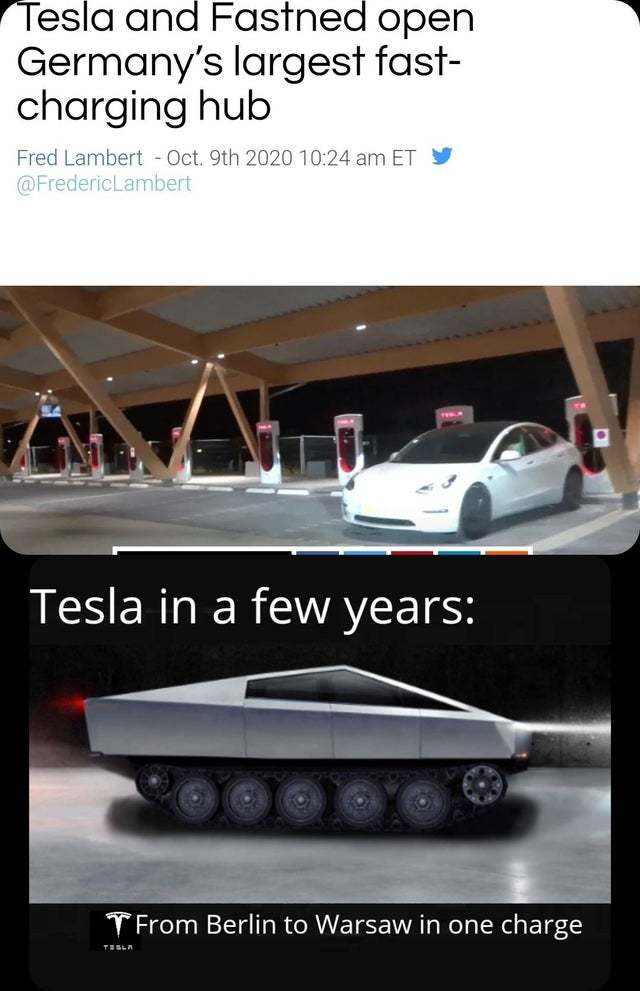 Tesla and Fastned open Germany's largest fast-charging hub - meme