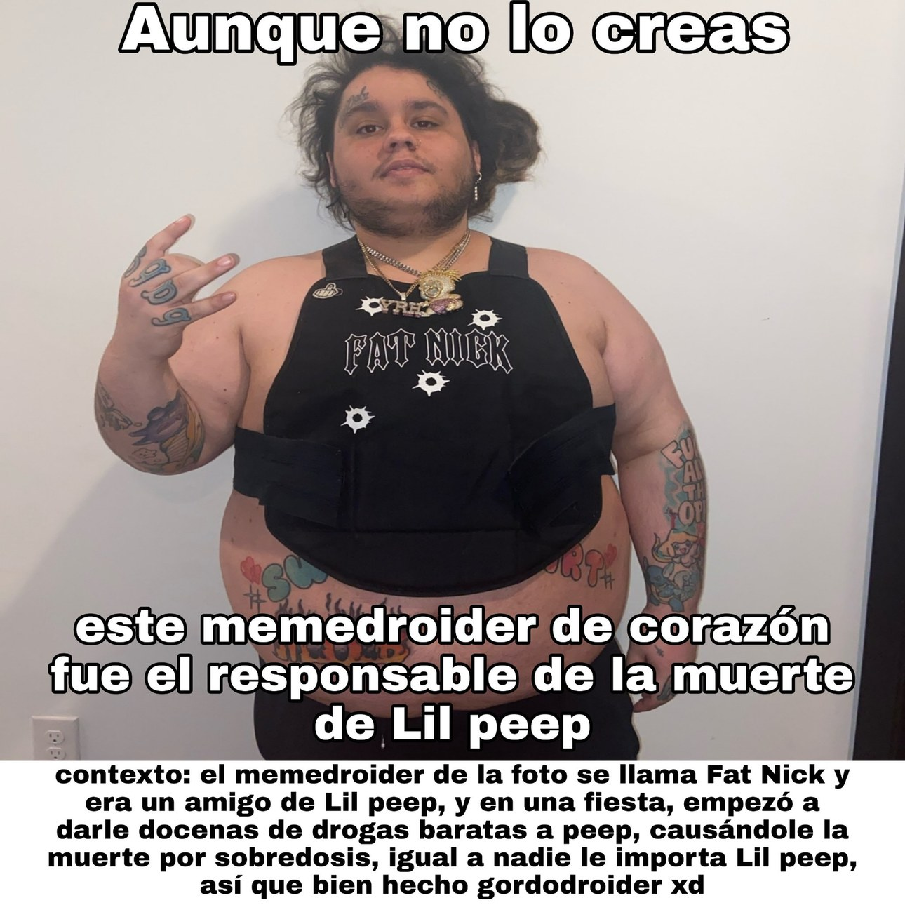 Fat Nick representando homodroid - meme