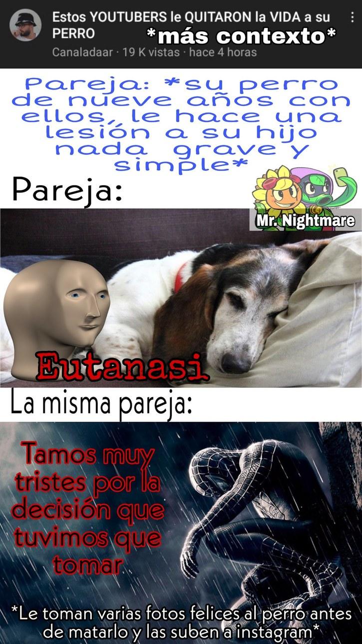 No, pobre perro, no debiste morir asi - meme