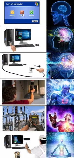 ways to turn off your computer - meme