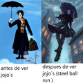 El sujeto se llama CAtch the RAinbow  y es un villano secundario de JOjo's Steel ball run