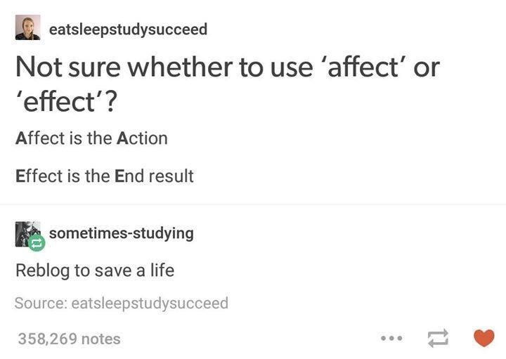 Affect & effect - meme