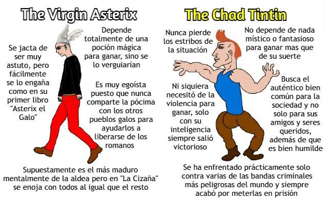 Mi primer Virgin vs Chad editado en Photoshop (alto capo el Tintin) - meme