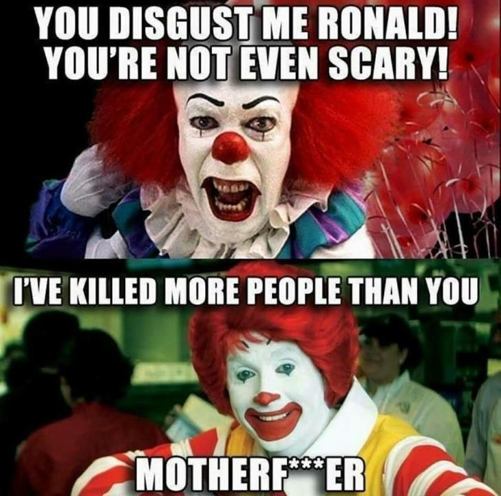 when pennywise and ronald meet each other - meme