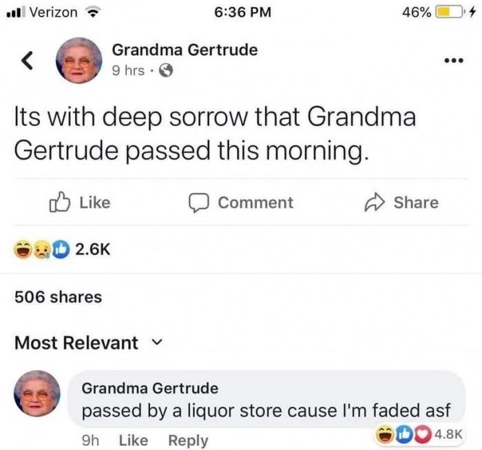 Grandma passed - meme
