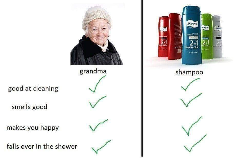 Death takes us all, fall from a height as if you were a shampoo bottle into the depths below - meme