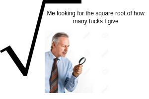 The answer is zero, I give zero fucks - meme
