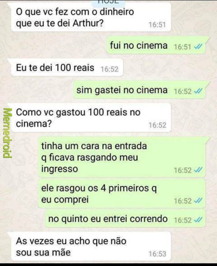 o caixa do cinema kkkkkkkk - meme