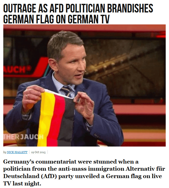 Waving your own flag controversial.  Only in liberal media - meme