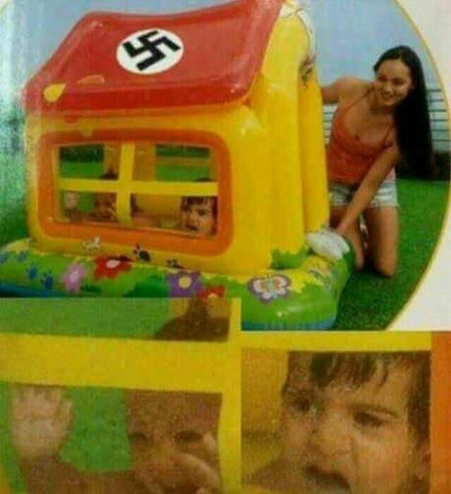 Last remaining Jews being put in the gas chamber, westenborg (1947 Colorized) - meme