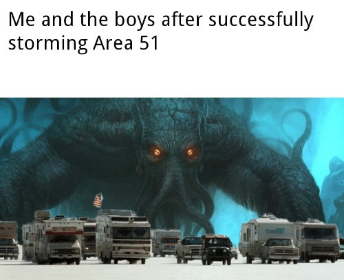 Aye guys lets be suicidal and storm area 51! - meme