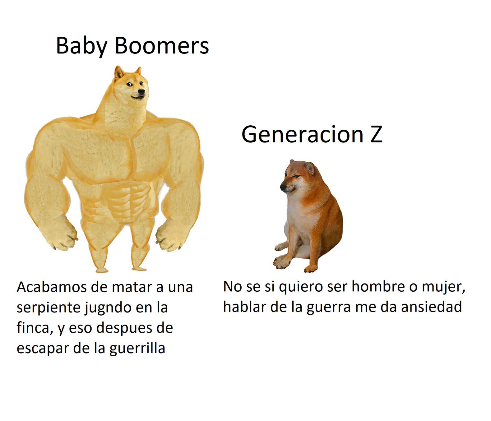 Eso en base a lo que paso por los tiempos de los Baby Boomers en Colombia, aunque no solo ahi ya que habia varios conflictos alrededor del mundo - meme