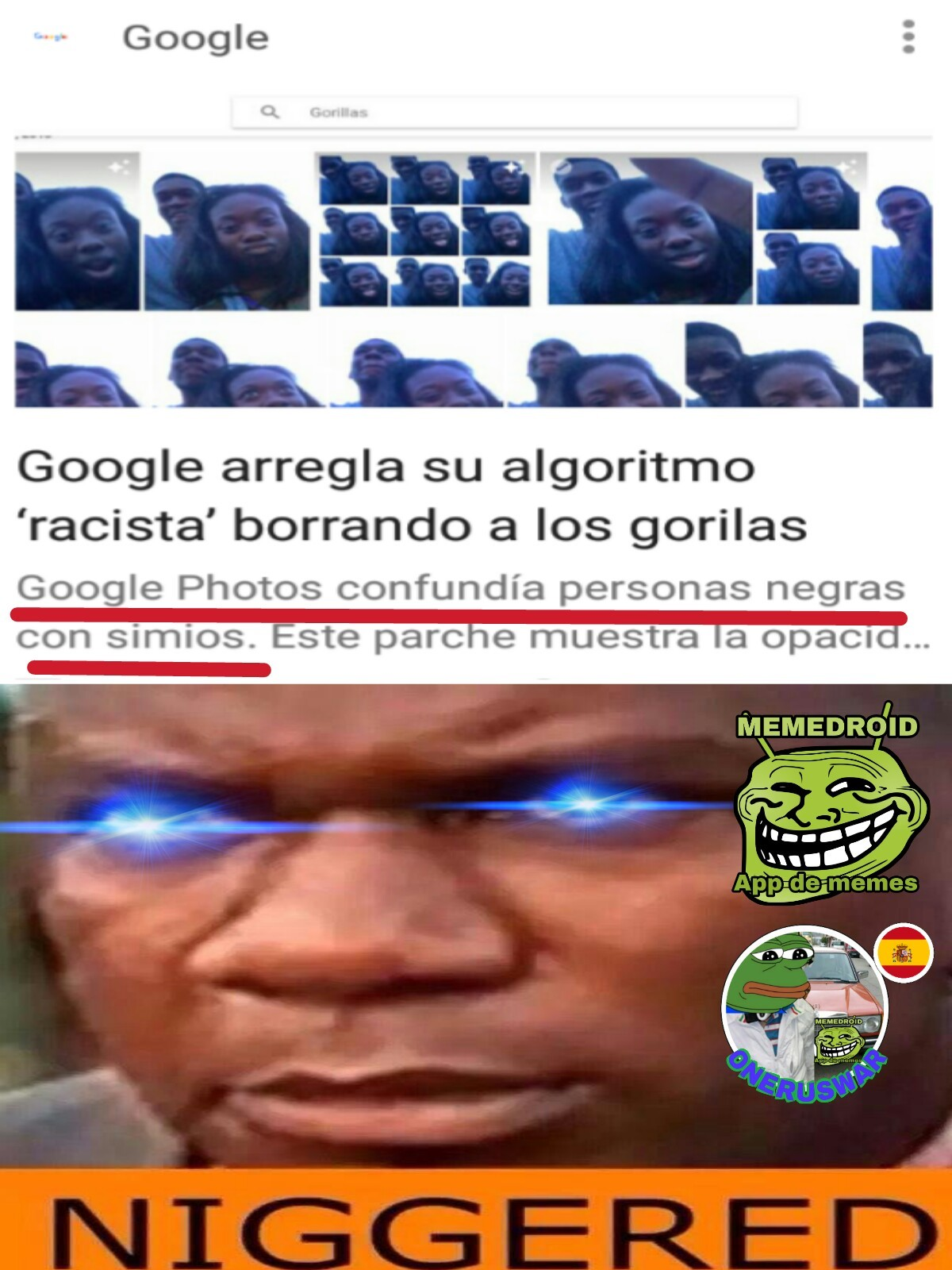 Google no seas racista - meme