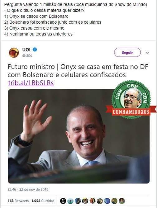 Onyx se casou com Bolsonaro e com os celulares confiscados - meme