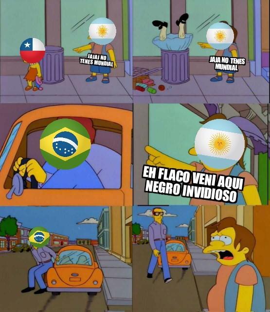 Se que argentina tiene mas copa Americas que Brazil  pero yo compare de mundiales - meme