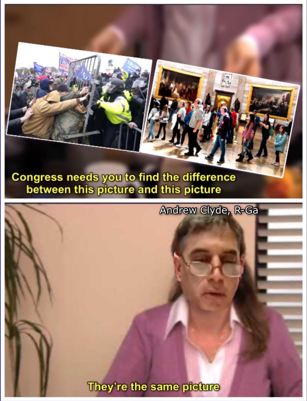 """insurrection = """"bald [sic] face lie""""... was just a """"normal tourist visit"""" - meme"""