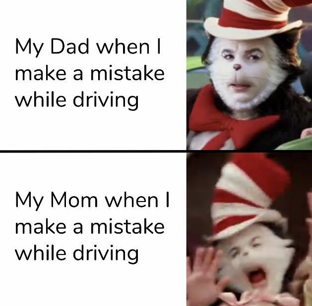 My mom vs my dad when I make a mistake while driving - meme