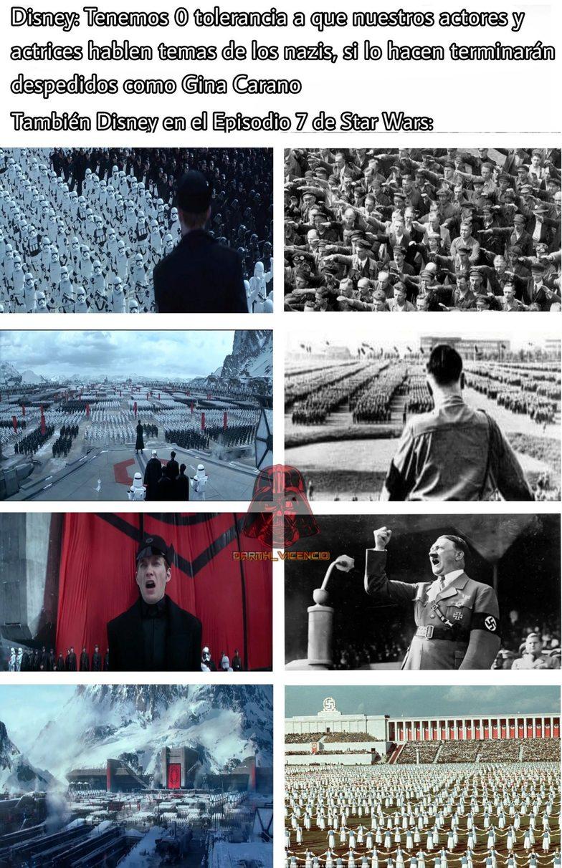 CONTEXTO: Gina Carano es una actric que sale en The Mandalorian Star Wars, empezó a tener problemas por burlarse de los trans, ser pro trump, antivacunas, etc., la despidieron despues de publicar algo del holocausto nazi. - meme
