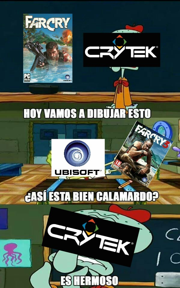 Para los que no sepan Crytek (creadores de la saga crysis) fuero los creadores Originales del primer far cry - meme