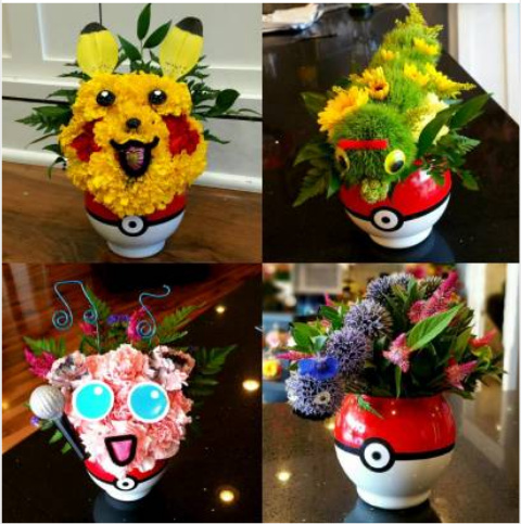 Made some pokemon characters out of flowers