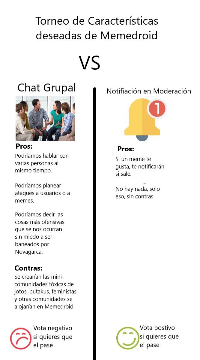 Ha habido un cambio en los torneos, ahora Chat Grupal se enfrentará a Notifiaciópn y Nuevos Memeticones se enfrentará a Gif de FDP y Cambio de Nombre (no vale votar en moderación)