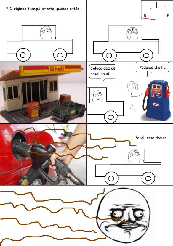 Aquele cheiro baum de gasolina - meme