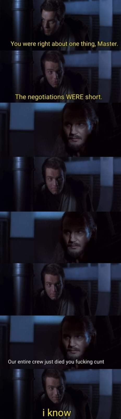 Qui-Gon looks so done with Obi-Wan's shit in this scene - meme