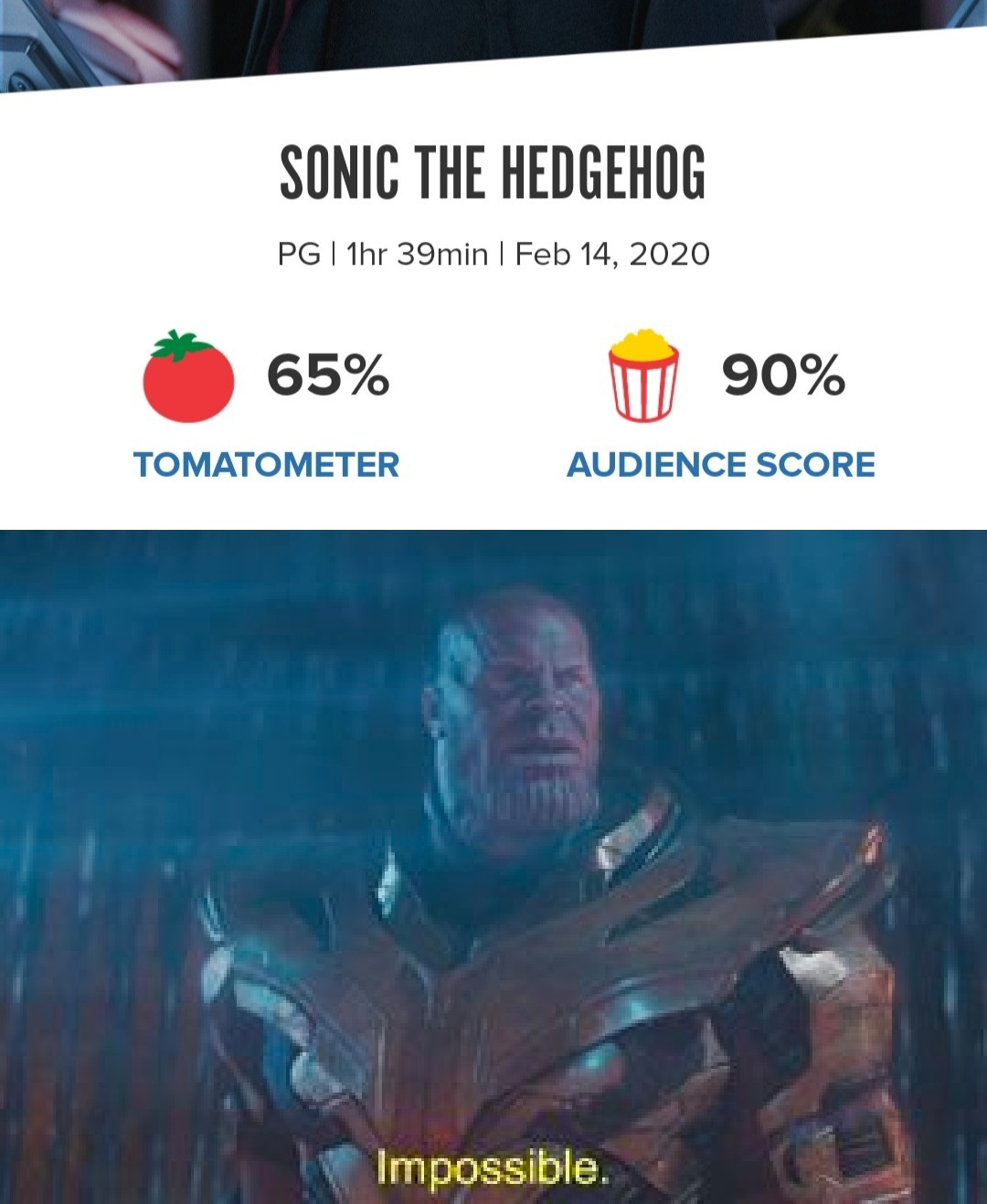 Anything 60% or higher is a win for live action video game movies! - meme
