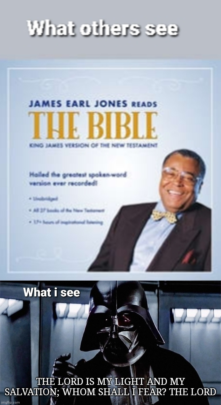 The voice of Darth Vader reads the bible - meme