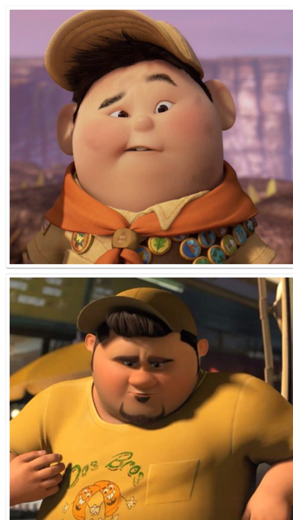 kid from up and the guy from turbo - meme