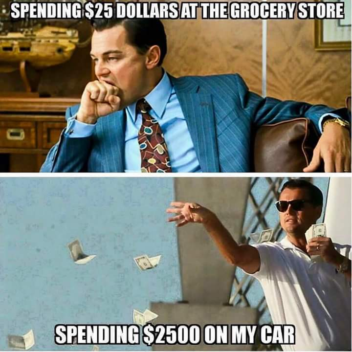 Who only spends $25 on groceries? - meme