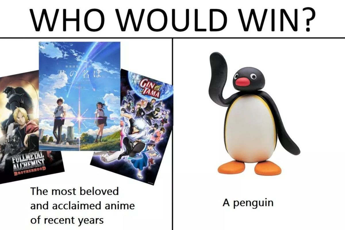 When pingu was ranked the #3 anime - meme